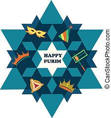 étoile, juif, purim., david, objets, vacances, heureux