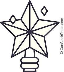 étoile, linéaire, illustration, concept., symbole, vecteur, ligne, signe, noël, icône