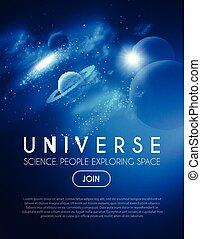 étoile, nébuleuse, lights., space., réaliste, planètes, univers, cosmos, 3d, galaxie, design.