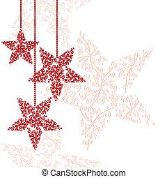étoile, noël ornements, rouges