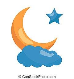 étoile, nuage, lune