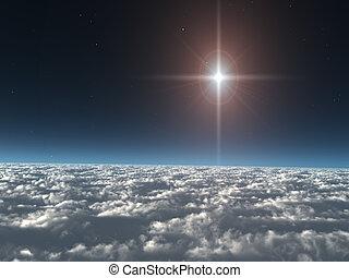étoile, nuages, au-dessus