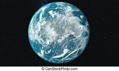 étoile, orbite, jeûne, zoom, mouvement, fond, la terre, filer