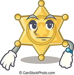 étoile, police, attente, table, écusson, dessin animé