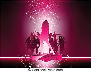 étoile rose, foule, danse, aviateur, fête