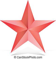 étoile, rouges, illustration, 3d