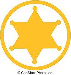 étoile, shérif, icône