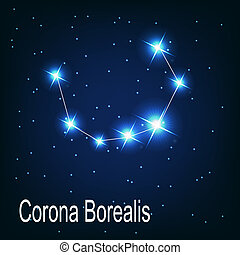 "étoile, sky., ""corona, illustration, borealis"", vecteur, nuit, constellation"