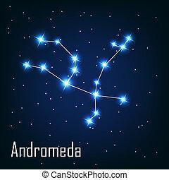 """, étoile, sky., illustration, andromeda"", vecteur, nuit, constellation"
