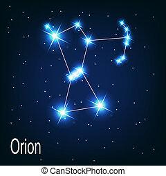 """étoile, sky., """"orion"""", illustration, vecteur, nuit, constellation"""