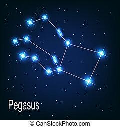 """étoile, sky., """"pegasus"""", illustration, vecteur, nuit, constellation"""