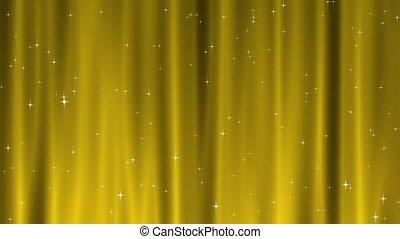 étoile, tapisserie, or, boucle