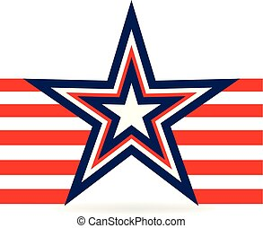 étoile, usa, raies, vecteur, rouges, icône