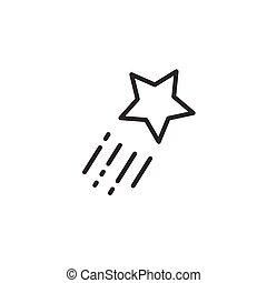 étoile, voler, isolé, illustration, fond, vecteur, icon., tir, blanc