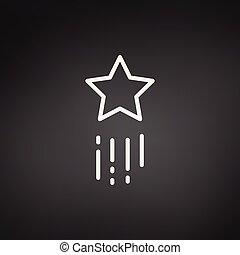 étoile, voler, isolé, illustration, fond, vecteur, noir, icon., tir