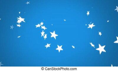 étoiles, arrière-plan bleu, tomber