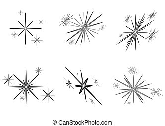 étoiles, clair, ensemble, noël