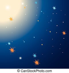 étoiles, fond, gabarit, nuit