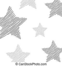 étoiles, gris, fond