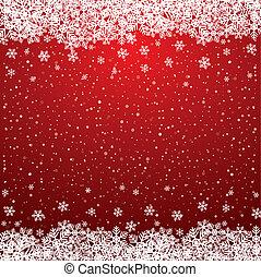 étoiles, neige, fond, snowflake blanc, rouges