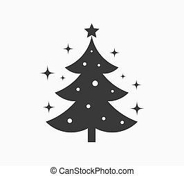 étoiles, noël, icon., arbre