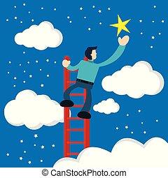 étoiles, utilisation, touchers, homme affaires, escalier