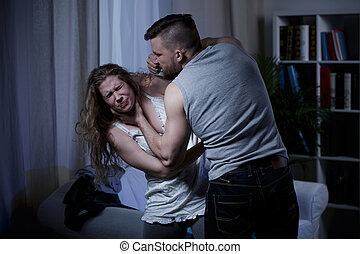 étouffement, mari, épouse