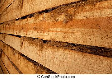 étoupe, mur, format., planches, horizontal, fuyant, distance., rugueux, grange