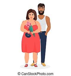 étrange, mariage, caucasien, sombre, caractères, amour, fort, portrait, vecteur, plat, graisse, peau, stéréotypes, inégal, illustration., femme, couple, contre, curvy, homme, famille, agréable
