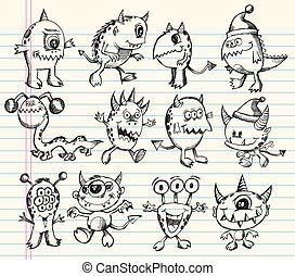 étranger, croquis, ensemble, monstre, créature