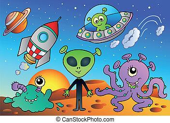 étranger, divers, dessins animés, espace