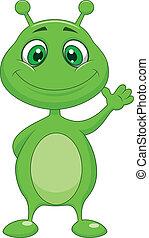 étranger, mignon, vert, dessin animé