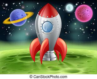 étranger, planète, dessin animé, fusée, espace