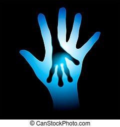 étranger, silhouette, mains humaines