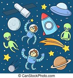 étrangers, fusée, ovnis, extérieur, objets, set., space., plat, astronautes, vecteur, illustration., fusées, planètes, dessin animé, étoiles, caractères