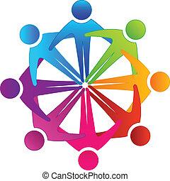 étreindre, collaboration, gens, logo