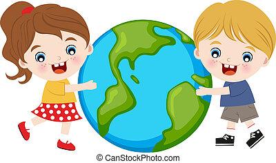 étreindre, enfants, la terre