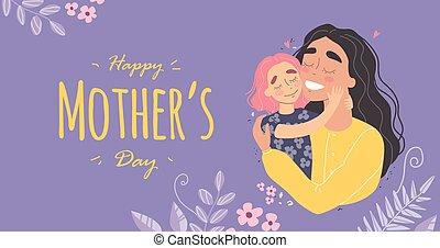 étreindre, salutation, jour, maman, girl, mères, carte, sourire