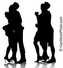 étreindre, silhouettes, couple