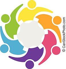 étreinte, engrenage, professionnels, collaboration, logo