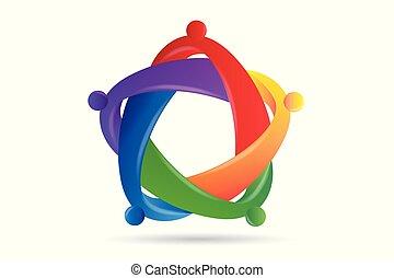 étreinte, gens, portion, unité, collaboration, logo, amitié
