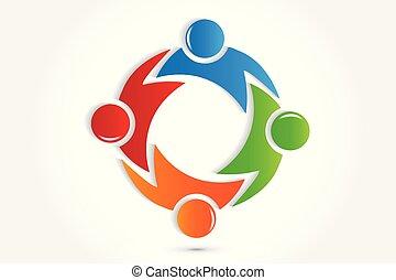 étreinte, gens, vecteur, collaboration, logo, icône