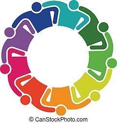 étreinte, groupe, gens, collaboration, 9, logo
