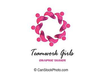 étreinte, logo, collaboration, partenaires, vecteur, filles