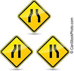 étroit, vecteur, panneaux signalisations