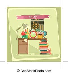 étude, illustration, vecteur