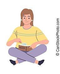 étude, vecteur, étudiant, girl, connaissance, lecteur, séance, livre, soi, illustration, book., plancher, femme, dessin animé, littérature, bibliothèque, lecture, manuel, intelligent, femme, concept, education