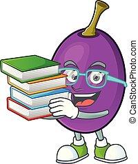 étudiant, caractère, winne, livre, fruit, délicieux, dessin animé