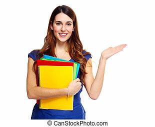 étudiant, femme, jeune, book.