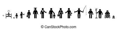 étudiant, gens, haut, homme affaires, homme, crosse, vieux, pictogramme, icône, humain, mort, vecteur, set., écolier, vie, figure, processus, bébé, séquence, mâle, croissant, malade, gosse, retiré, enfant, cycle, vieillissant